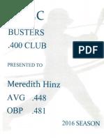 2016 chs sball-mac busters 400 club