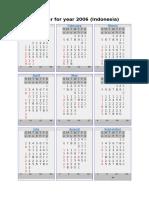 Calendar for Year 2006