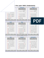 Calendar for Year 2001