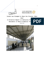 A Situation Report on Obstacles Facing Gaza Residents in Need of Medical Treatment