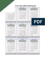 Calendar for Year 2003