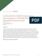 La Discalculia en Edad Temprana Sus Caracteristicas y Su Posible Influencia en El Desarrollo Socioemocional