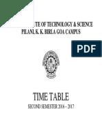 Time Table Semester II 2016-17-11 Jan 17