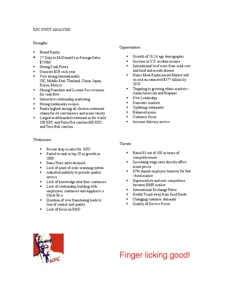 kfc opportunities and threats