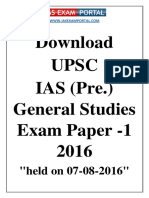 UPSC IAS Pre General Studies Exam Paper 2016
