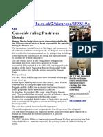 Genocide Ruling Frustrates Bosnia