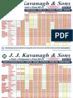 Latest JJ Kavanagh Limerick to Dublin Bus Timetable