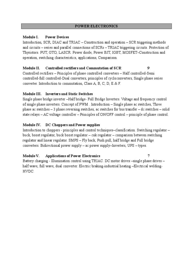 Power Electronics Ug Syllabus 2017 Diac Applications
