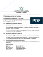 Resignation and Appointment of Executive Director and Changes in the Composition of the Board