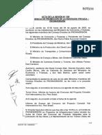 Acta de la sesión N° 109 sobre contrato de la Interoceánica