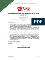 Reglamento Ley de Migración - Bolivia