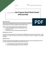 the university program board book award application revised