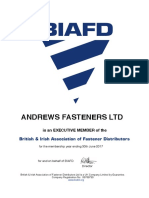 Andrews Fasteners Limited - executive member of British & Irish Association of Fasteners Distributors