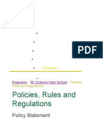 Policies, Rules and Regulations
