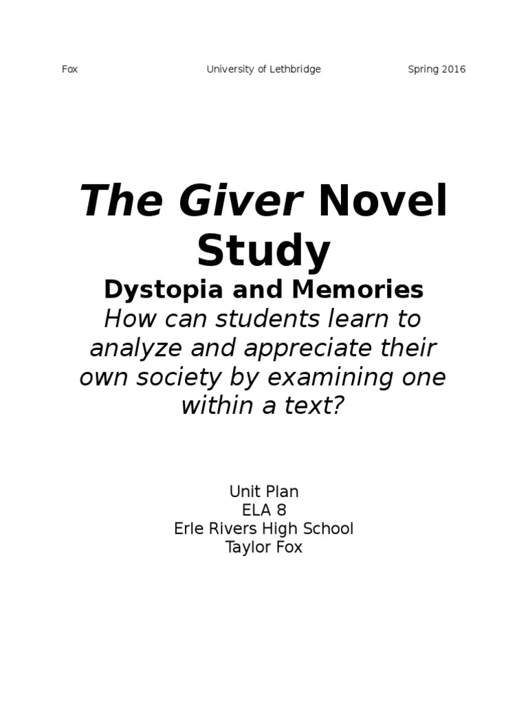 unit plan - the giver | Educational Assessment | Reading