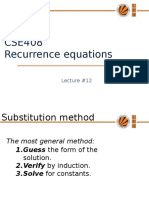 18370 Lecture12!12!17458 Solving Recurences
