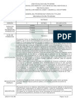 Infome Programa de Formación Titulada Sistemas