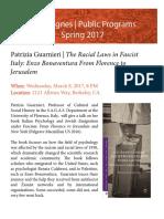 Book Lecture l Patrizia Guarnieri, The Racial Laws in Fascist Italy
