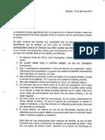 Carta de Familiares Presos en China dirigida al Ministro de Justicia Yesid Reyes Alvarado