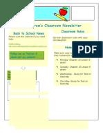 my classroom newsletter