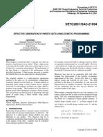 EFFECTIVE GENERATION OF PARETO SETS USING GENETIC PROGRAMMING