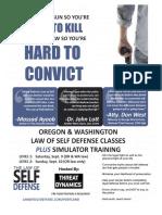 Law of Self Defense Class Portland OR 9-9-17