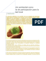 La Educación Ambiental Como Herramienta de Participación Para La Sosteniblidad Local