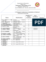 Distribution of 2016 Research Conference Compilation of Abstracts (a Research Journal)