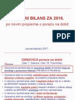 Porezni Bilans Za 2016