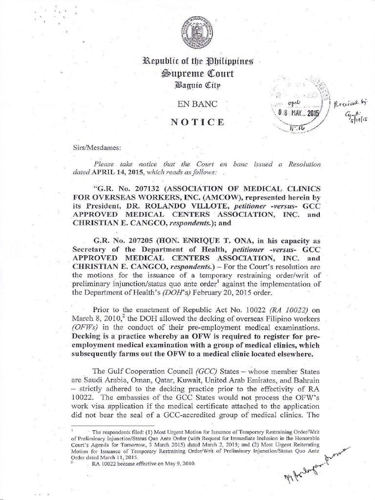 266999732-SC-Gamca-Ruling-2015 pdf | Writ Of Prohibition