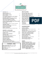 Lovers Seafood Dinner Menu PDF