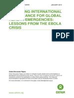 Improving International Governance for Global Health Emergencies