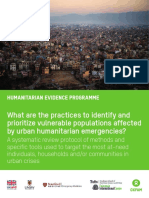 What are the practices to identify and prioritize vulnerable populations affected by urban humanitarian emergencies?