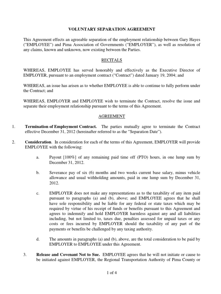 Voluntary Separation Agreement Sample Indemnity Law Of Agency
