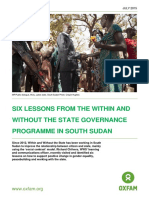 Six Lessons from the Within and Without the State Programme in South Sudan