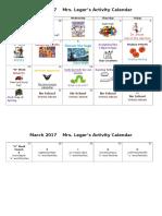 March 2017 Activity Calendar