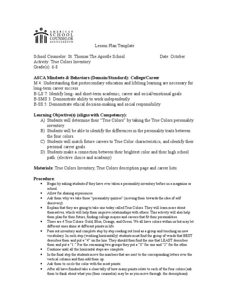 True Colors Lesson Plan Goal Color - School counselor lesson plan template
