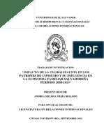 Impacto de La Globalización en Los Patrones de Consumo y Su Influencia en La Economía Familiar Salvadoreña Período 2008-2010
