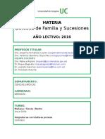 3er Año - Derecho de Familia y Sucesiones 2016