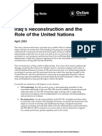 Iraq's Reconstruction and the Role of The United Nations