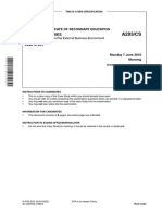 64467 Question Paper Unit a293 Production Finance and the External Business Environment Case Study