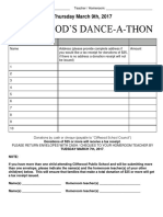 Cover of Dance-A-thon Envelope - Pledge Letter