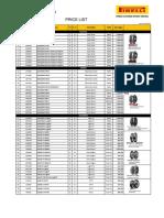 Price List Pirelli Per 29 April 2016