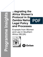 Integrating the Africa Women's Protocol in the Zambia National Legal Policy and Processes