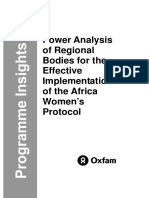 Power Analysis of Regional Bodies for the Effective Implementation of the Africa Women's Protocol