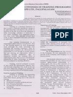 A Study on Effectiveness of Training Programme in SPB Ltd., Pallipalayam