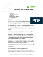 Oxfam International Position on Food Prices