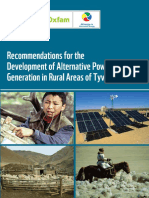 Recommendations for the Development of Alternative Power Generation in Rural Areas of Tyva Republic