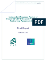 Independent Progress Review of Oxfam GB's DFID General Programme Partnership Agreement (PPA)