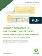 Comment bien gérer un partenariat dans le cadre d'une intervention humanitaire